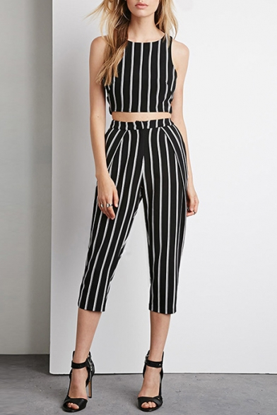 Sexy Mono Wide Stripes Cut-Out Waist Sleeveless Tank