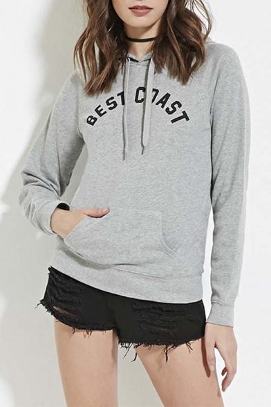 Gray Letter Print Pocket Front Sport Style Hooded Sweatshirt