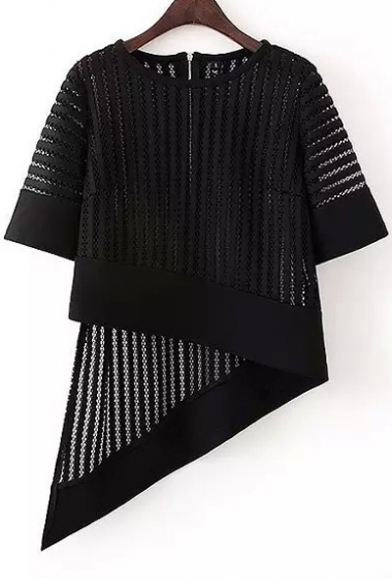 Asymmetrical Hollow Out Zipper Back Lace T-Shirt