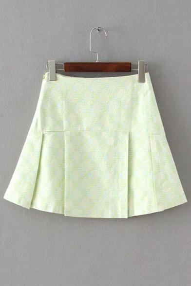 light green plaid zip detailed pleated hem mini skirt