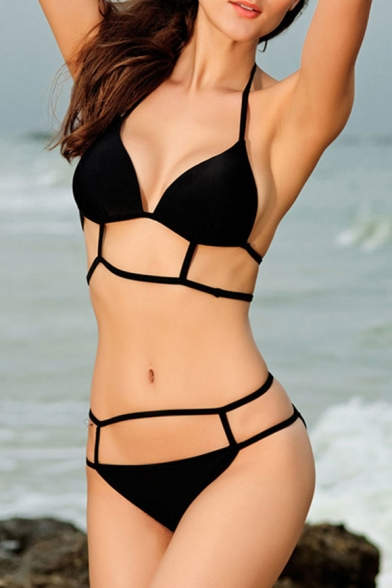 Caged Halter Padded Cup Triangle Top Bikini Set