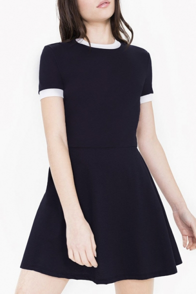 Round Neck Short Sleeve Plain A-Line Mini Dress
