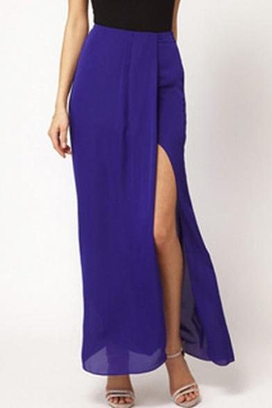 fashion chiffon side split ankle length pencil skirt