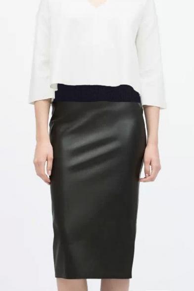 fashion elastic waist leather tea length pencil