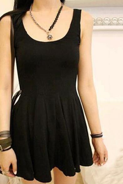 Fashion Scoop Neck Sleeveless Plain Mini Chic Dress