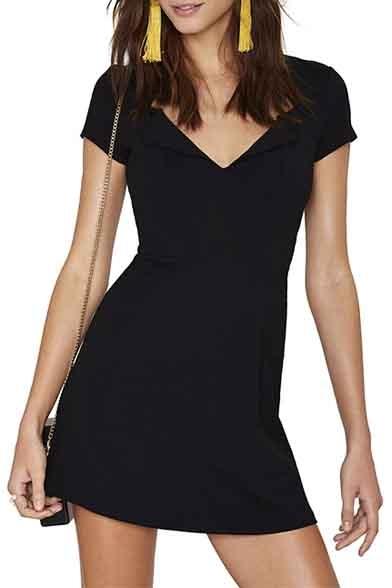 Simple Fashion V-Neck Short Sleeve Plain Mini Dress