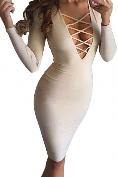 Women Sexy Long Sleeve Autumn Warm Stretch Bodycon Party Bandage Dresses