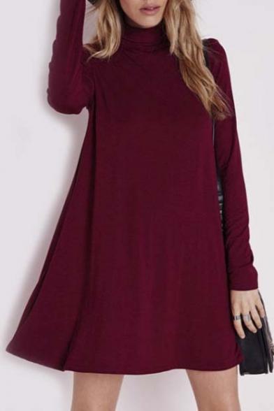 Fashion High Neck Long Sleeve Plain A-Line Mini Dress