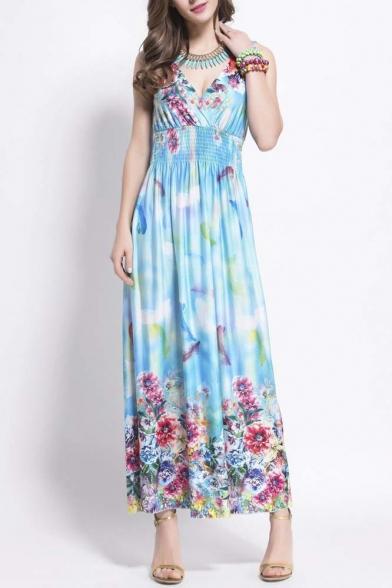 Women's V-Neck High Ruched Waist Floral Printed Chiffon Maxi Dress
