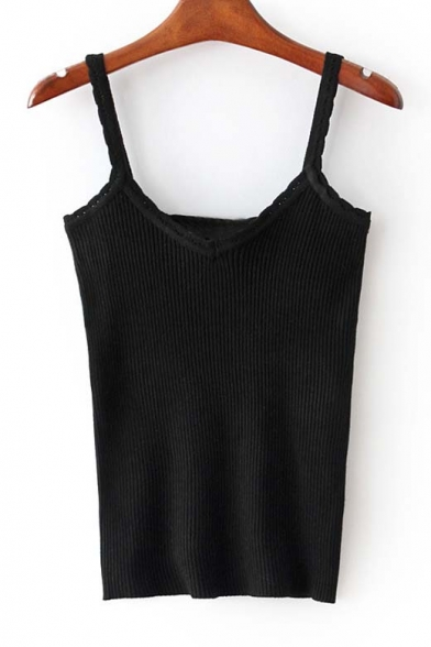 Spaghetti Straps Women Chic Camisole Knit Top