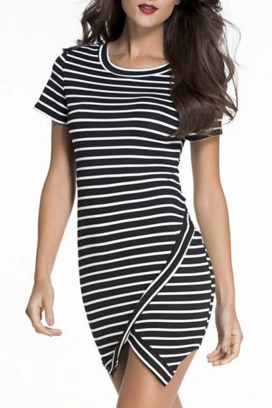 Sexy Womens Striped Zipper Back Un-Even Hem Dress