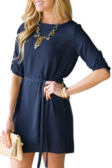 Fashion Elegant Long Sleeve Shift Short Dress with Belt