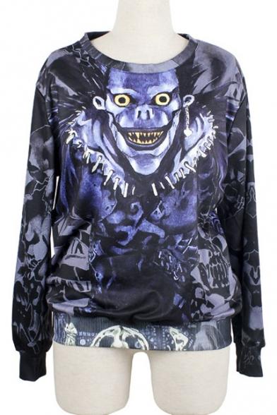 Women's Fashion Blue Skull Print Long Sleeve Pullover Loose Sweatshirt