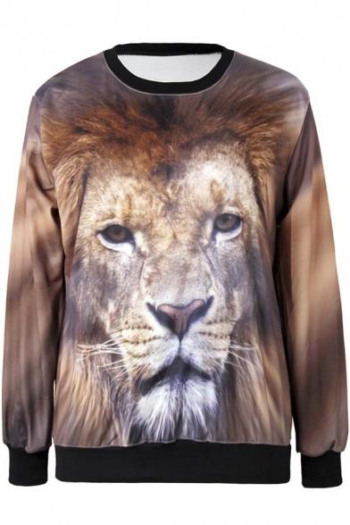 Women's Fashion Lion Painting Thin Sweater Sweatshirt Good Quality
