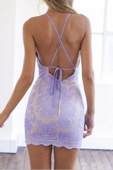 Women's Sexy Criss Cross Back Sleeveless Bodycon Mini Lace Dress