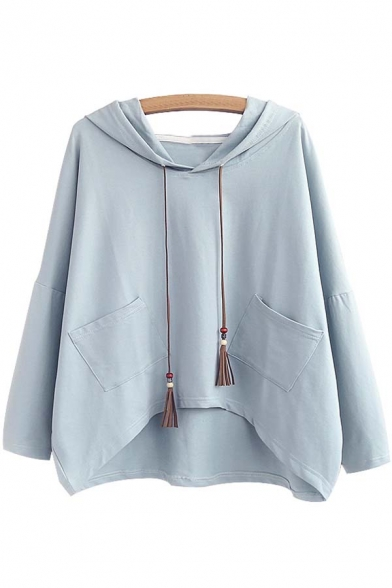 Women's Casual Drawstring Hooded Hip Hem Sweatshirt with Pocket