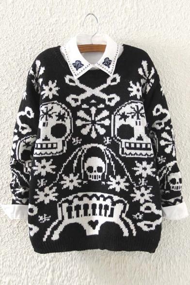 Women's Fashion Skull Print Long Sleeve Pullover Sweater