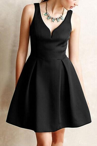 Fashion Elegant V-neck Sleeveless A-line Dress with Zipper Back