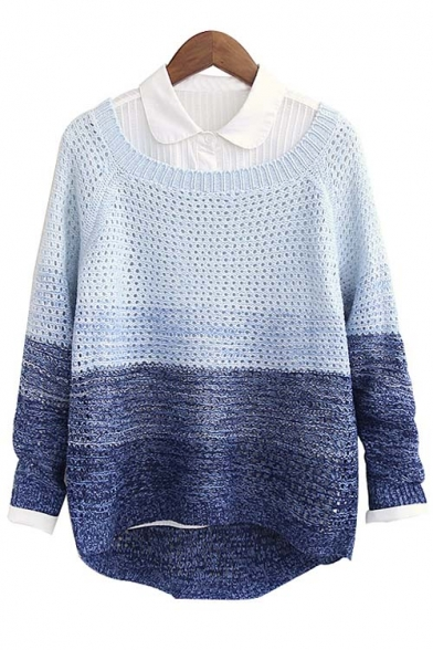 Stylish Color Block Long Sleeve Dip Hem Open Knitted Sweater