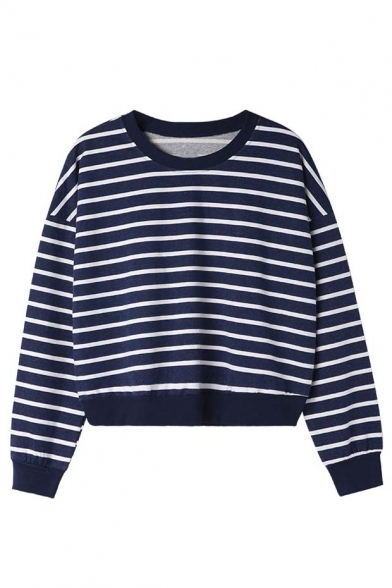 Loose Striped Color Block Elastic Trim Round Neck Long Sleeve T-Shirt