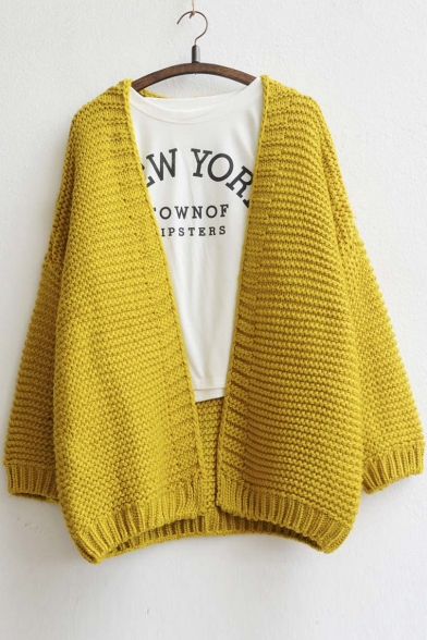 Women's Fashion Open-Front Batwing Sleeve Loose Fit Cardigan