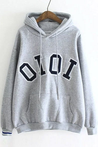 Preppy Style Pullover Loose Concise Letter Print Casual Hoodie
