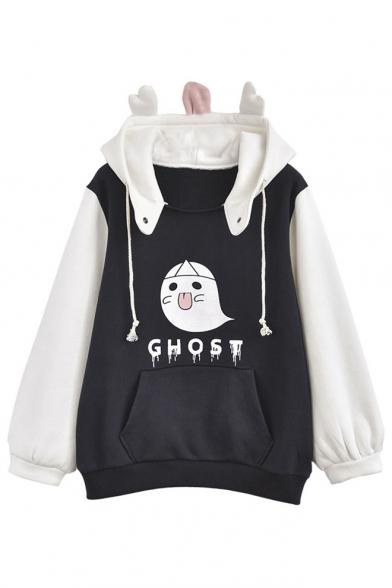 New Ghost Print Color Block Long Sleeve Fleece Hoodie