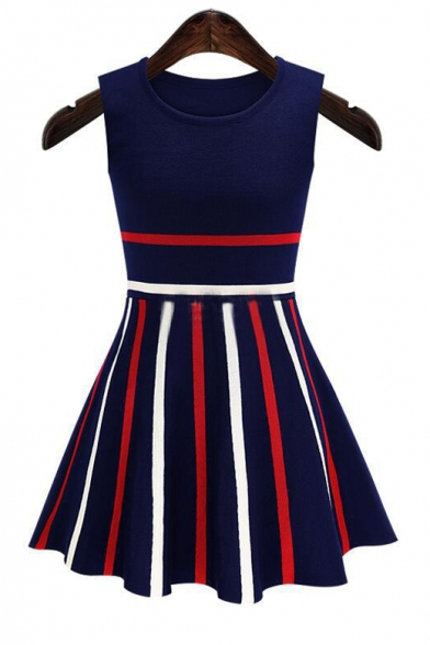 New Style Vertical Striped Color Block Round Neck Sleeveless Knitted Skater Dress