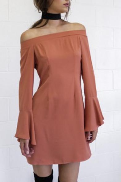 Off the Shoulder Flare Sleeve Solid Color Fashion Dress