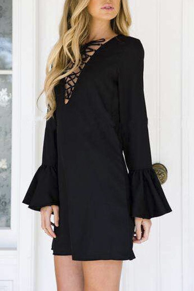 Fashion Lace-up Deep V-neck Long Bell Sleeve Mini Dress