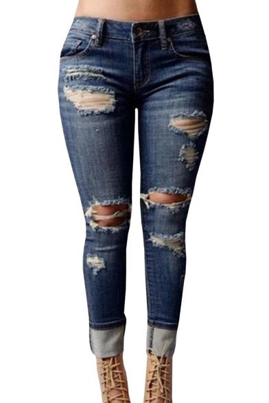 Womenu0026#39;s High-waisted Ripped Holes Skinny Jeans Plus Size - Beautifulhalo.com