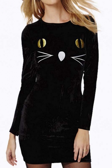 Fashion Cute Cat Face Round Neck Long Sleeve Bodycon Dress in Black