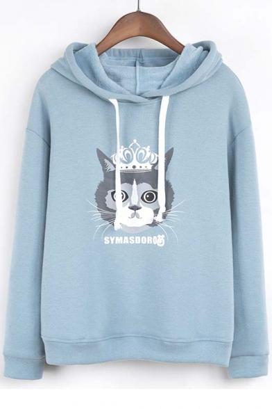 Cute Preppy Style Cat Print Hooded Dropped Long Sleeve Hoodie