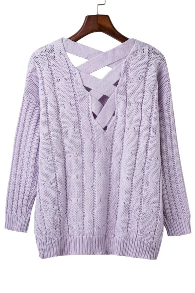 Women's Loose Long Sleeve Cross Back Cable Ribbed Knit Sweater