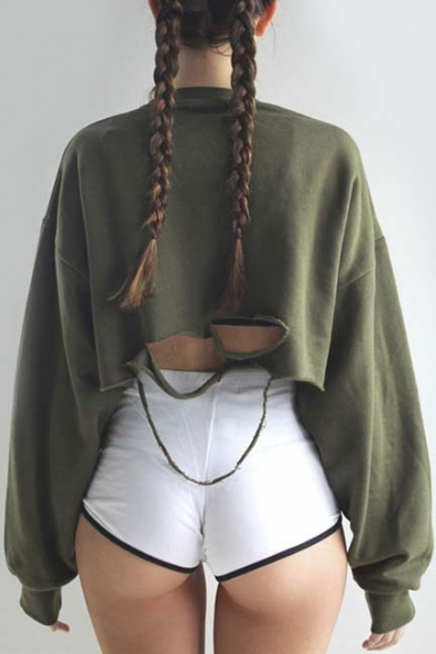 Sexy Broken Hole Back Pullover Cropped Sweatshirt