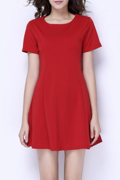 Fashion Plain Round Neck Short Sleeve Mini A-Line Dress
