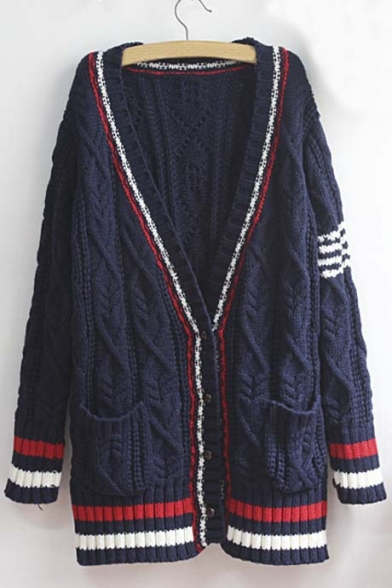 V-Neck Striped Print Long Sleeve Women's Longline Cable Knit Cardigan
