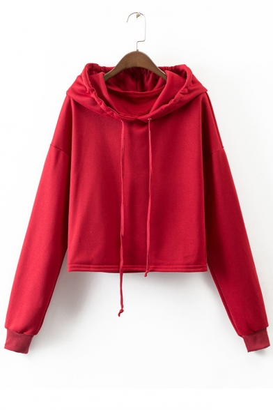 Women's Fashion Long Sleeve Solid Color Basic Casual Drawstring Hoodie