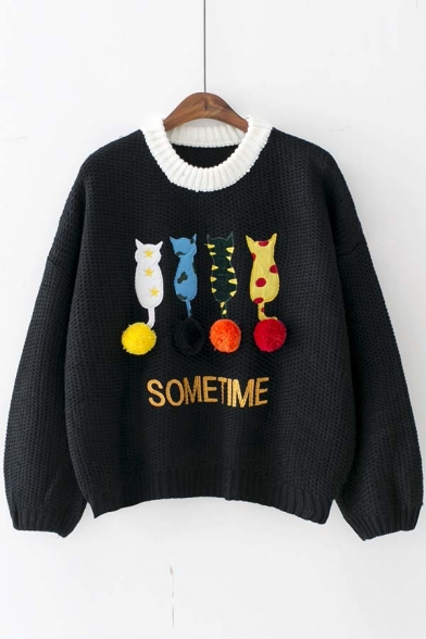 Cute Cat Print Long Sleeve Round Neck Women's Casual Sweater