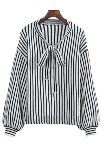Women's Vertical Striped Color Block Bow V-Neck Long Lantern Sleeve Sweater