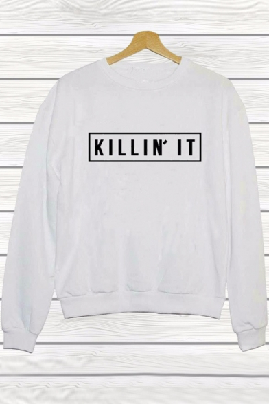 Women's Fashion Letter Casual KILLIN'  IT Print Pullover Sweatshirt