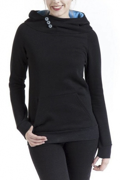 Women's Solid Color Long Sleeve Pullover Hoodie