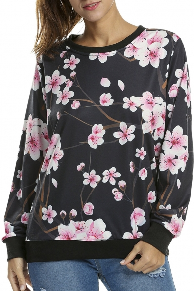 Women's Floral Printed Long Sleeve Sweatshirt Pullover