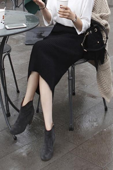 Women's Ribbed Midi Pencil Skirt