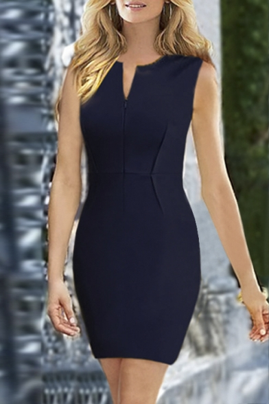 Fashion V-Neck Sleeveless Plain Elegant Mini Bodycon Dress