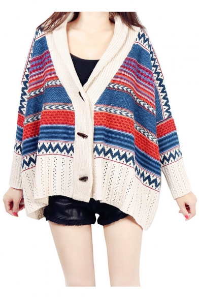 Christmas Design Oversize Batwing Sleeve Loose Women's Dipped Hem Cardigan