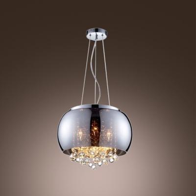 gracefully smoky glass round shade chrome finished modern pendant light hanging crystal balls. Black Bedroom Furniture Sets. Home Design Ideas
