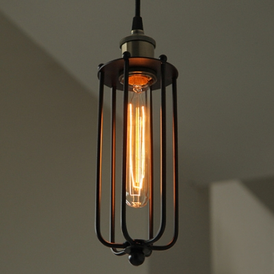 Vintage Industrial Tubular Cage 1 Pendant Light
