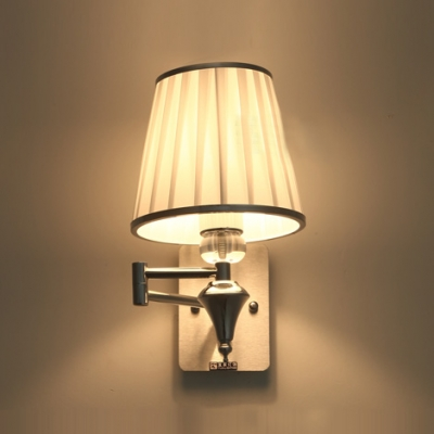 Chrome Wall Sconce With Fabric Shade : Glamorous Single Light Wall Sconce Features Polished Chrome Finish and White Fabric Shade ...