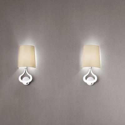 modern chrome finished frame and classic fabric shaded designer wall light